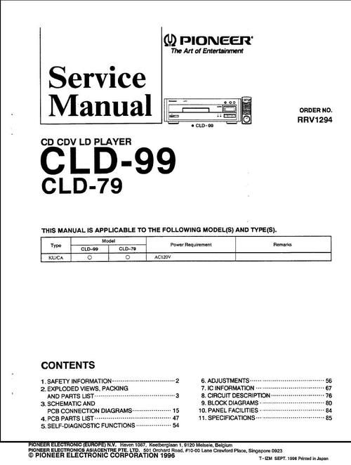 Pioneer CLD 79 & CLD-99 Laser Disc , Service Manual  * PDF format suitable for all DOWNLOAD