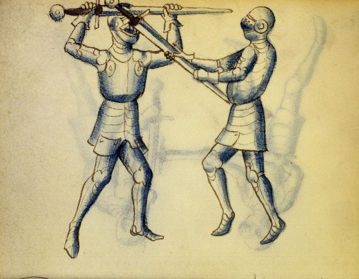 Cod. 11093, 20v: Book on Swordsmanship and Wrestling, mid-15th c. Austrian National Library, Public Domain