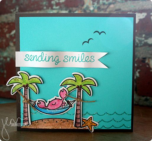 Sending smiles, using Lawn Fawn Life is Good stamp set | shurkus.com