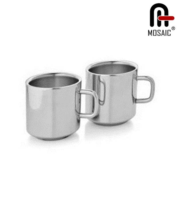 Mosaic Stainless Steel Tea Cup Set Of 4 Pcs-Straight, http://www.snapdeal.com/product/mosaic-stainless-steel-tea-cup/541584