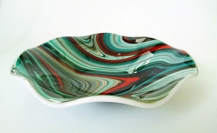 Fused Glass Bowl - Turquoise Orange Brown Swirl - Fused Glass Dish - Fruit Bowl - Decorative  Bowl - Serving Bowl - Southwestern Decor by StainedGlassYourWay on Etsy