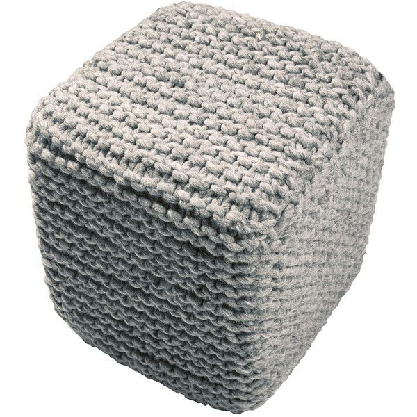 """Jaipur 16"""""""" x 18"""""""" Scandinavian Nata Gray Pouf ($245) ❤ liked on Polyvore featuring home, furniture, ottomans, gray footstool, grey footstool, gray ottoman, gray furniture and scandinavian furniture"""