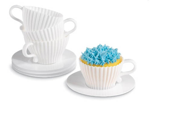 Bake and serve your favorite cupcakes in one contemporary teacup. These modern silicone molds are food and oven safe, and they're reusable for future festivities.