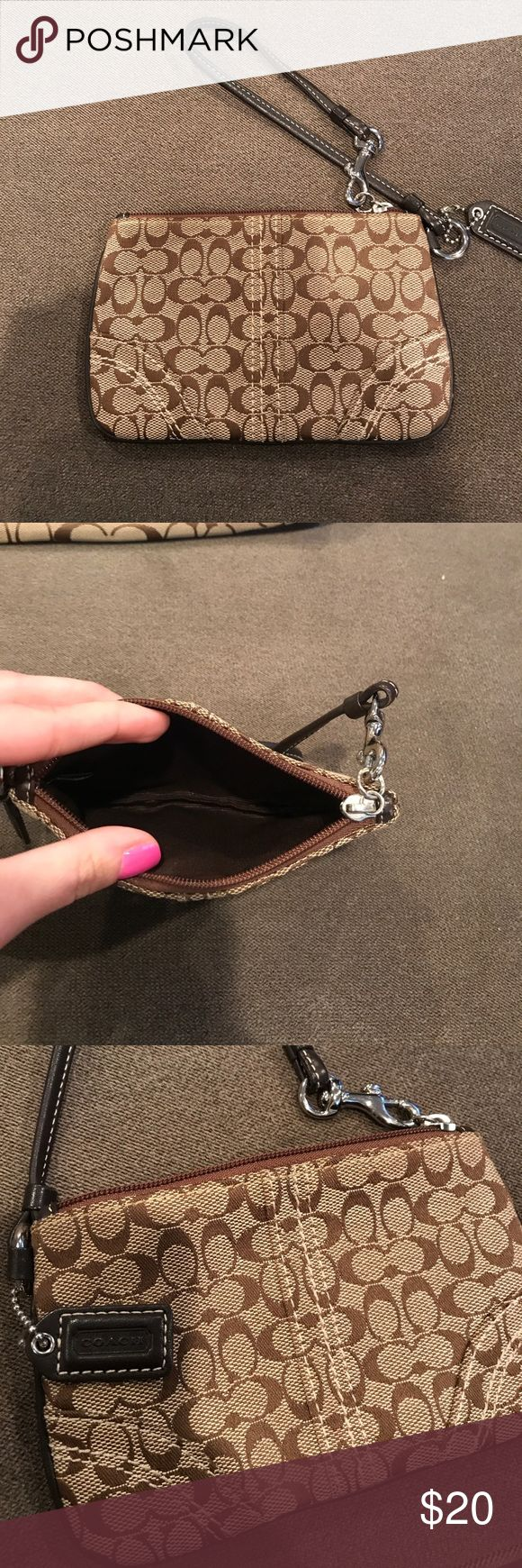 Authentic coach wristlet Small brown coach wristlet I barely used.  Condition is like new with no signs of wear. Coach Bags Clutches & Wristlets