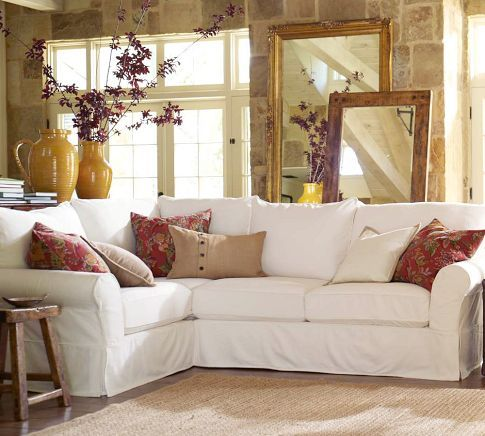 PB comfort slipcovered sectional in washed linen/cotton light camel color... can't wait for the sofa to ship!
