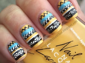 Aztec Nails are still in!!!: Yellow Nails, Indian Prints, Nails Art, Nails Design, Tribal Nails, Nails Polish, Aztec Patterns, Prints Nails, Aztec Nails