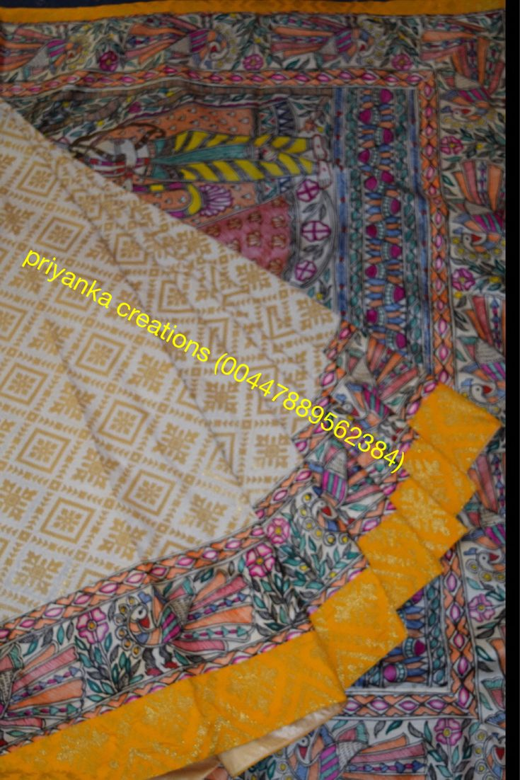 Hand painted Madhubani art and Banarsi Silk patchwork saree. Can take customise orders.