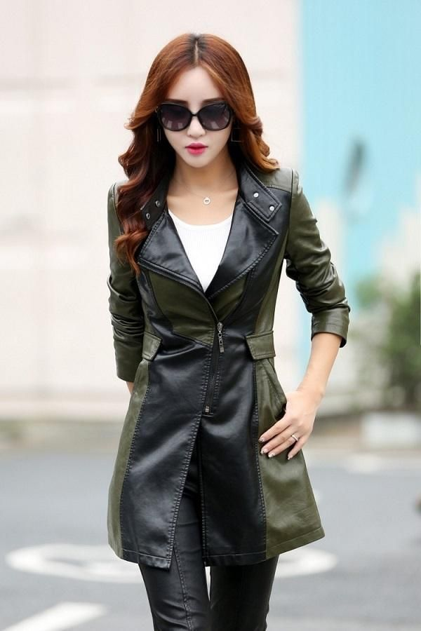 3b0d0013d18 Long Plus Size Faux Leather Women Jacket Trench Coat in 2019
