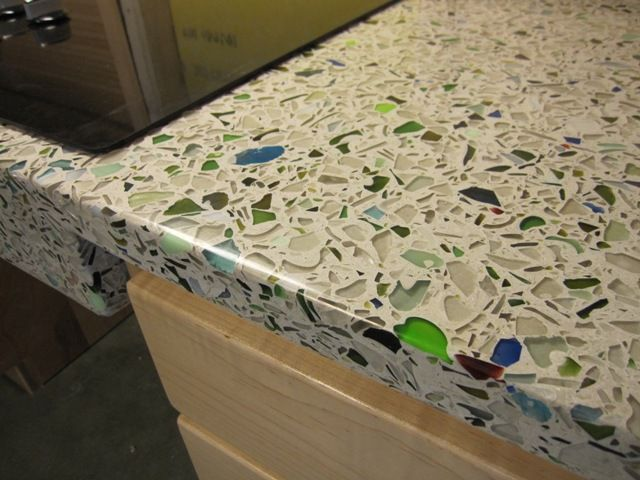 diy broken glass concrete countertop projects