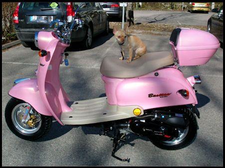 "Bästa kompisen scooter...Hon e lite rosa """"""""fjollig"""""""" :-D"