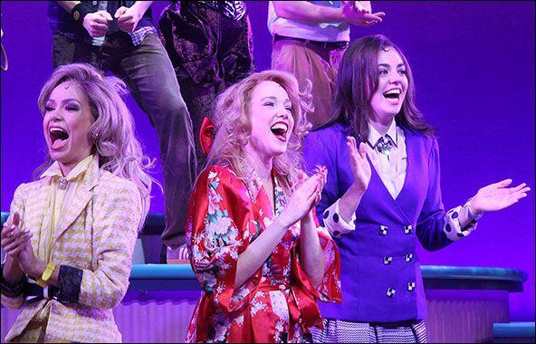 Elle McLemore, Jessica Keenan Wynn and Barrett Wilbert Weed Heathers curtain call
