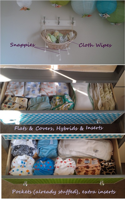 Cloth diaper organization - where to find snappiest, much more tidy than pegs!