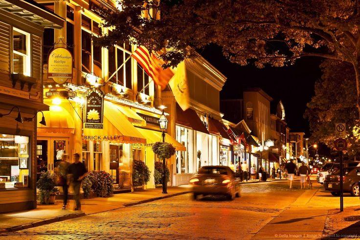 Downtown shops and restaurants, Thames St, Newport, RI, Rhode Island, USA          #VisitRhodeIsland