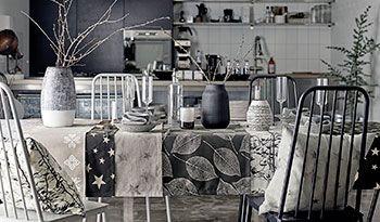 Halvpanama hvid m sort/grå grene - Stof & Stil
