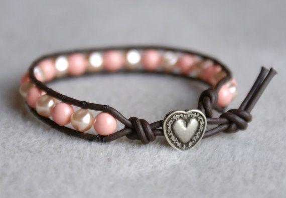 Pink Coral Bohemian beaded leather wrap bracelet by OlenaDesigns, $29.00