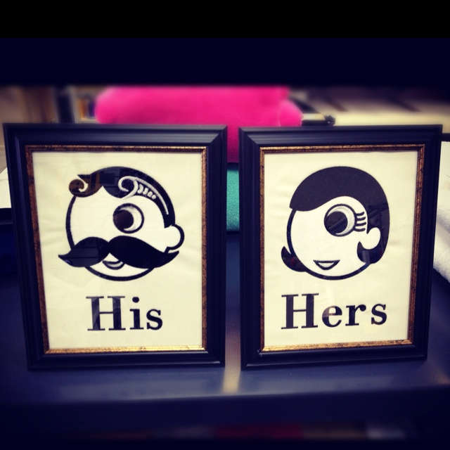 Embroidered His And Hers Bathroom Door Signs (closet Door Signs Maybe Use  Black And White