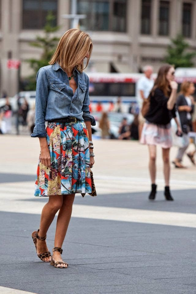 Street Style With Skirt And Denim Shirt