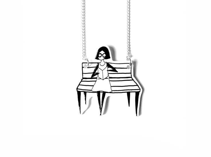 illustration necklace hand painted silver plated shrink plastic necklace - Bookworm. $16.85, via Etsy.