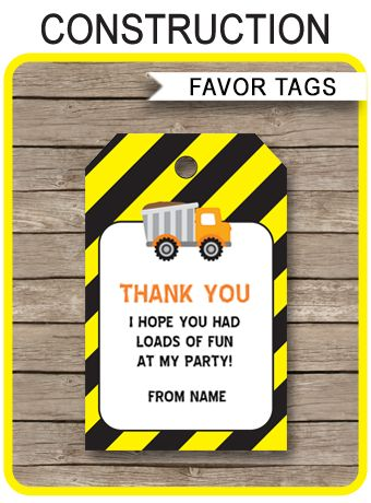 INSTANT DOWNLOADS of Construction Party Favor Tags. Personalize the printable template at home and attach to your Construction party favors. Download Now!