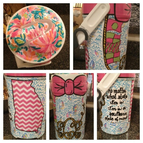 Personalized painted 1/2 gallon cooler.