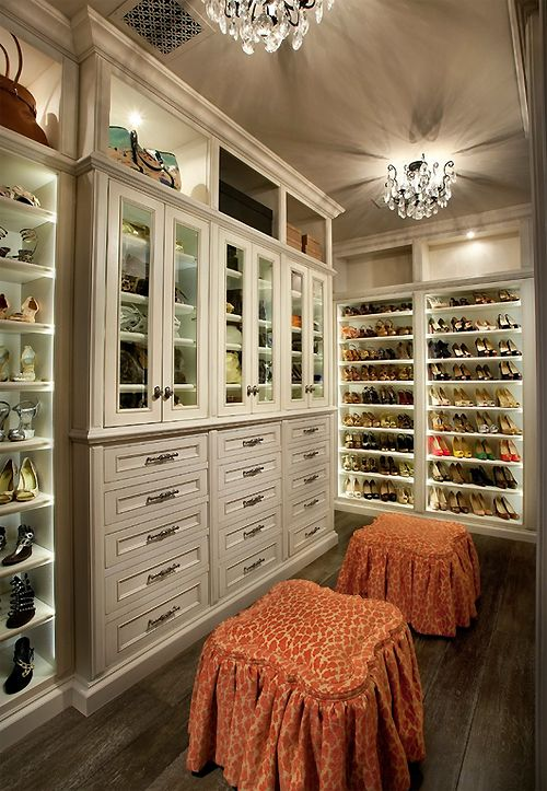 Luxury master closet  ceiling to floor...gorgeous. shoes at angle love that!
