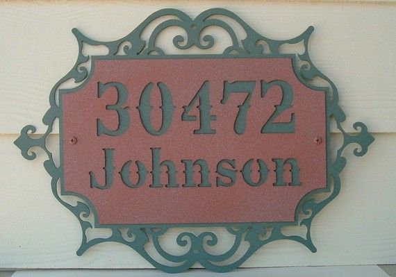 Address sign with scroll  7 by MichaelsMetalArt on Etsy, $59.00