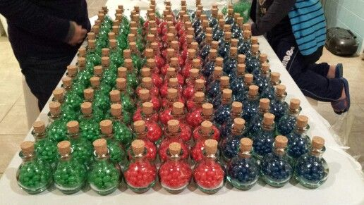 Potion bottle wedding favours - stamina, health and mana!