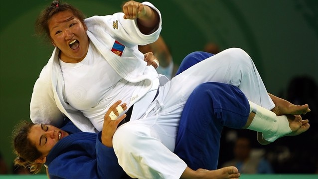 #Judo, repechage final of the women's 78 kg, Beijing 2008  Tserenkhand Dorjgotov of Mongolia falls on top of Anne-Sophie Mondiere of France in the repechage final of the women's 78 kg judo event at the University of Science and Technology Beijing Gymnasium on Day 7 of the #Beijing 2008 #Olympic Games
