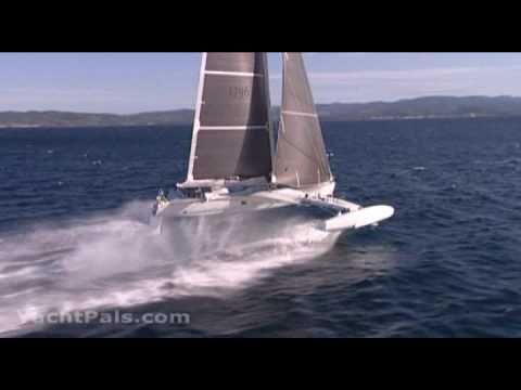 l'Hydroptere -- fastest sail*boat* at an average of 51.36 knots over 500 meters. It is a multi-hull hydrofoil. It doesn't sail in water; it sails above the water.