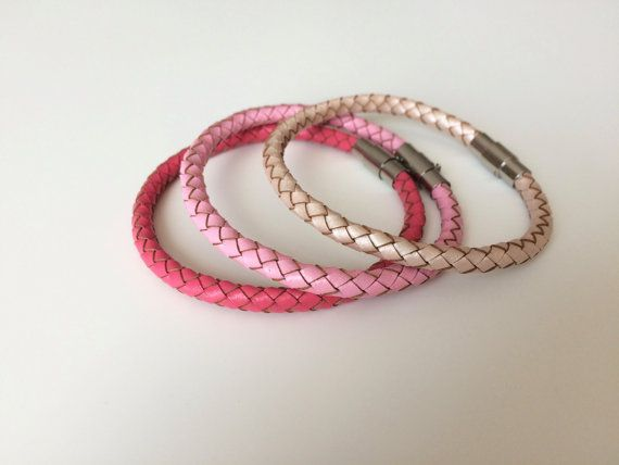 Pink Braided Leather Bracelet Magnet Clasp - Stocking Stuffer - Teen Bracelet - Women's Bracelet - Gifts for Teens - Gifts for Mom