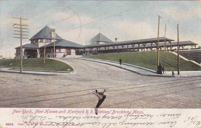 New York, New Haven and Hartford Railroad Station used to sit where the Brockton Police Station is now located.