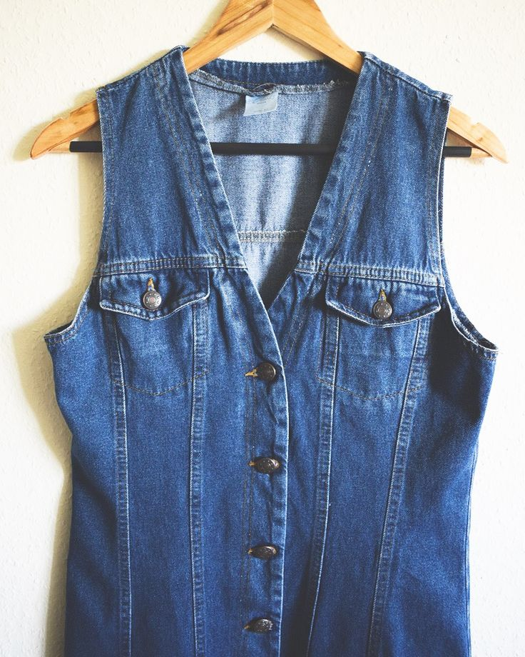 Vintage Denim Dress - Sleeveless Denim Dress Perfect For Summer, Festivals, and Everyday Wear. To see the rest of our collection check out https://www.etsy.com/shop/luckythreadsvintage