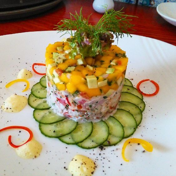 Our #chef's creation! #Shrimp #Avocado and #Mango Salad with #Saffron Dressing. #Foodie #RadissonBlu