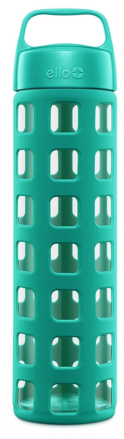 Ello Pure BPA Free Glass Water Bottle with Lid, Teal Squares, 20 oz.