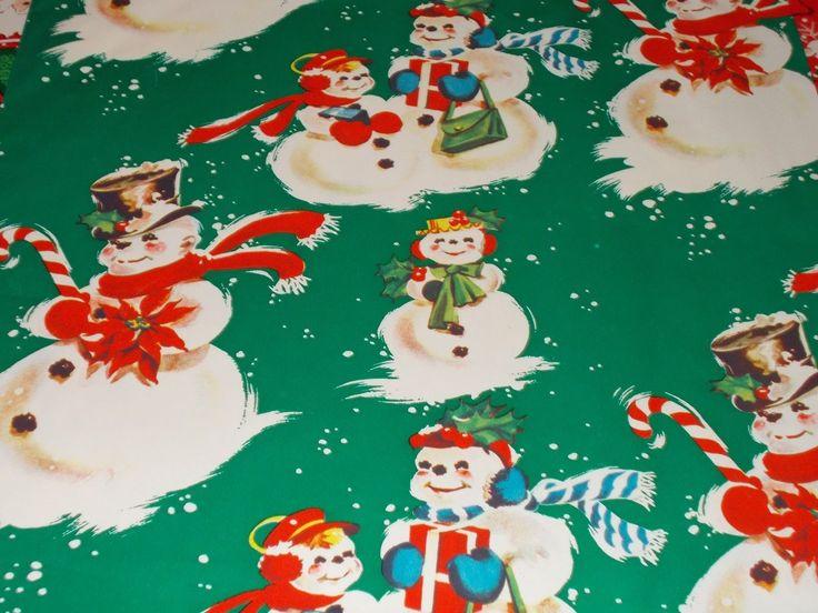 VTG CHRISTMAS WRAPPING PAPER GIFT WRAP SNOWMEN CANDY CANE CUTE NOS 1950 | eBay
