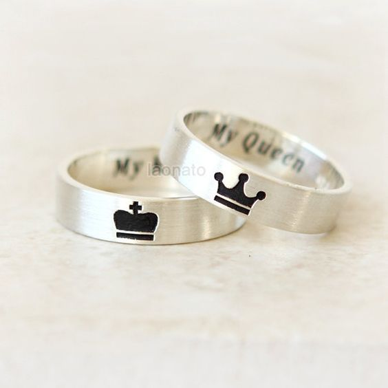 King and queen silver rings - LadyStyle