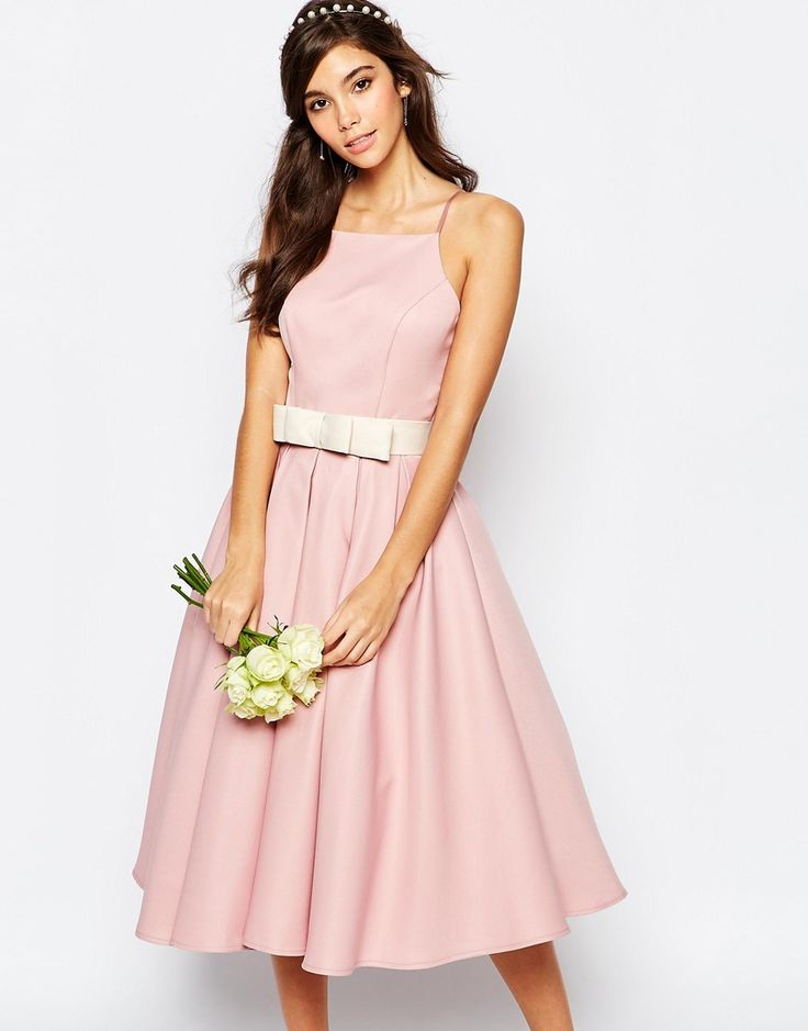Image 1 ofChi Chi London High Neck Midi Prom Dress with Full Skirt