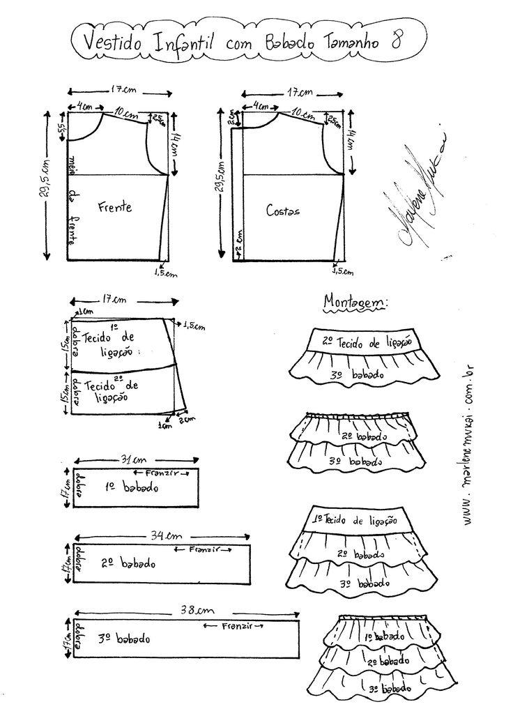 Esquema de Modelagem de Vestido Infantil com Babados em Camadas tamanho 8.