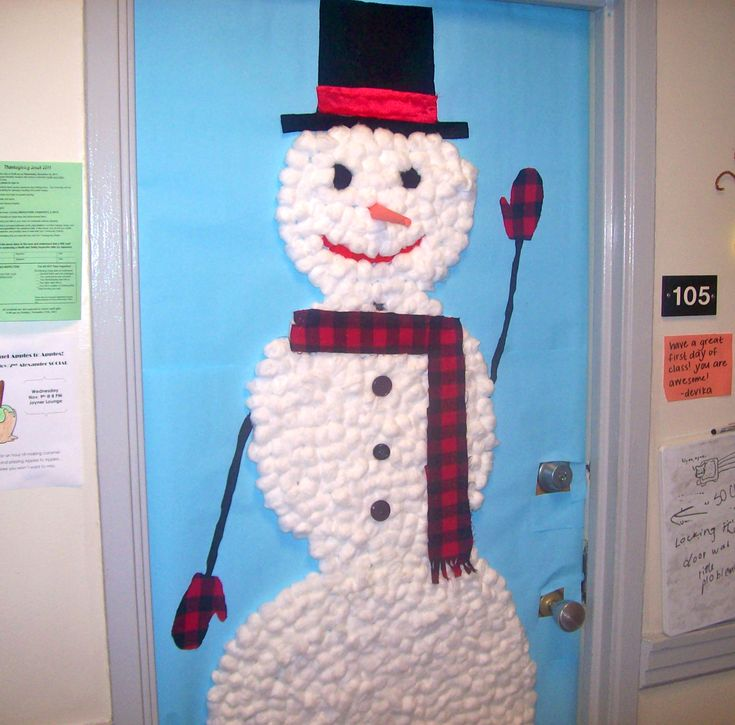christmas door decorating contest winners | We decorated our door with a snowman, and he really brightened up the ...