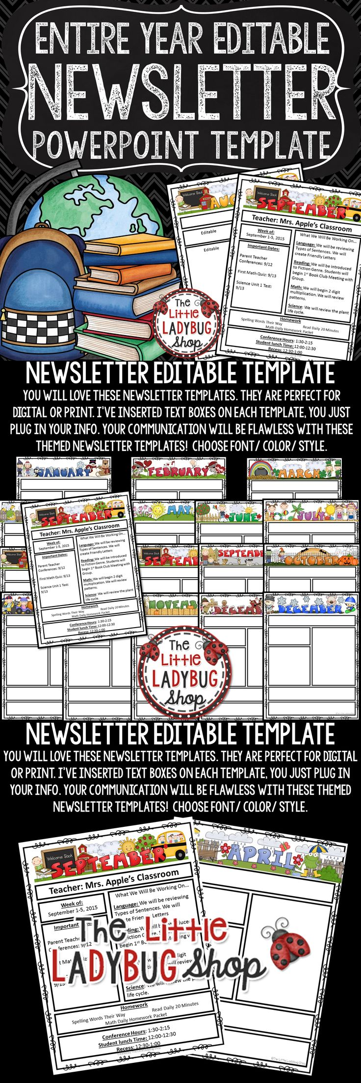 You will love these Weekly Classroom Newsletter Template -Editable with Monthly Themes, perfect for weekly/monthly communication with school, parents, and families. You will love sending these digitally or as a hard copy weekly or monthly!!!