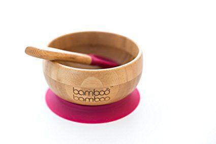 Ensemble bol pour bébé avec ventouse et cuillère assortie, stabilisation du bol par ventouse, Bambou naturel: Amazon.fr: Bébés & Puériculture