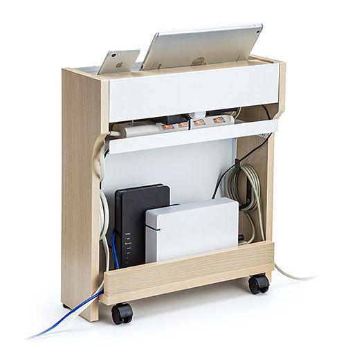 ケーブルボックスタップ/ルーター収納ボックススマホスタンド機能充電ステーション木目柄