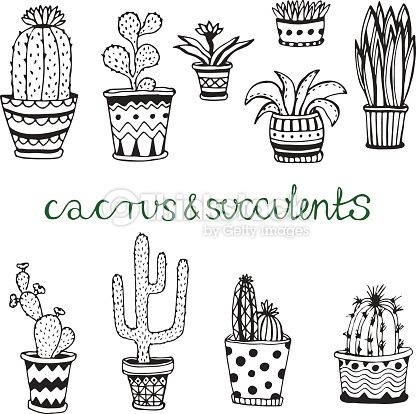 Hand drawn succulent and cactuse set. Doodle florals in pots. Vector botanical set with cute house interior plants