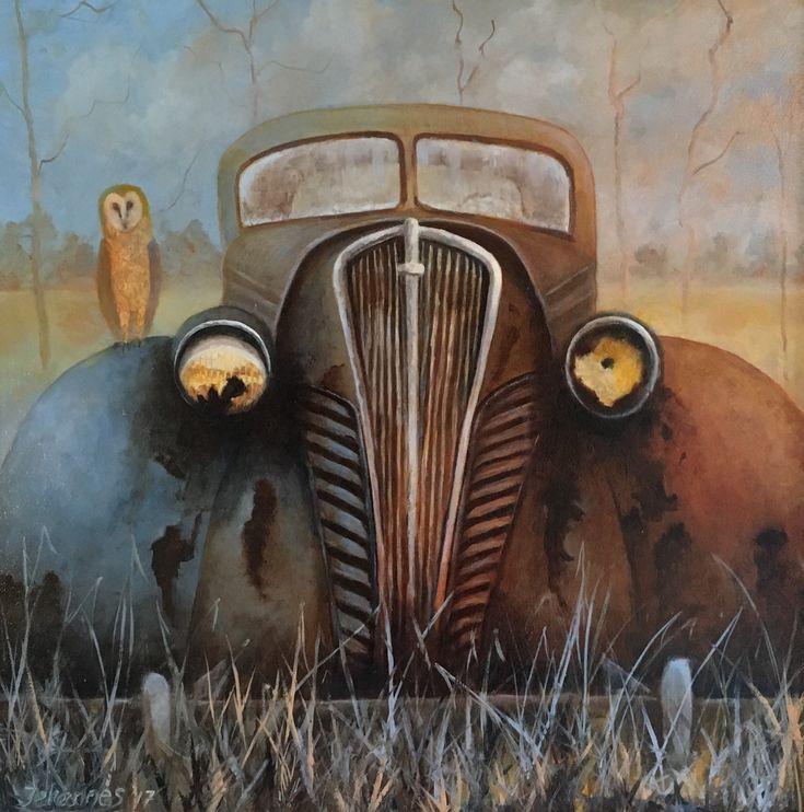 Abandoned car, oil on panel, 40 x 40cm, Jehannes Hoogeveen 2017