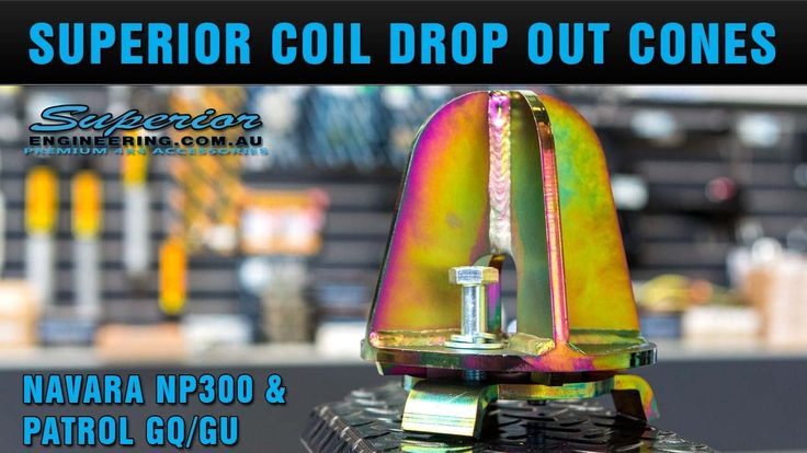 Superior Coil Drop Out Cones. Check out these Superior Coil Drop Out Cones to suit the NP300 Nissan Navara and GU/GQ Nissan Patrol four wheel drives.  Superior has CAD Engineered an innovative bolt-in solution to fix the problem of your coil springs coming loose on your 4WD under down travel when driving offroad.  These cones allow for a larger shock to be used in your 4x4, as the coils will be able to drop down approximately 4 inches below the top coil seat before they will fall out…
