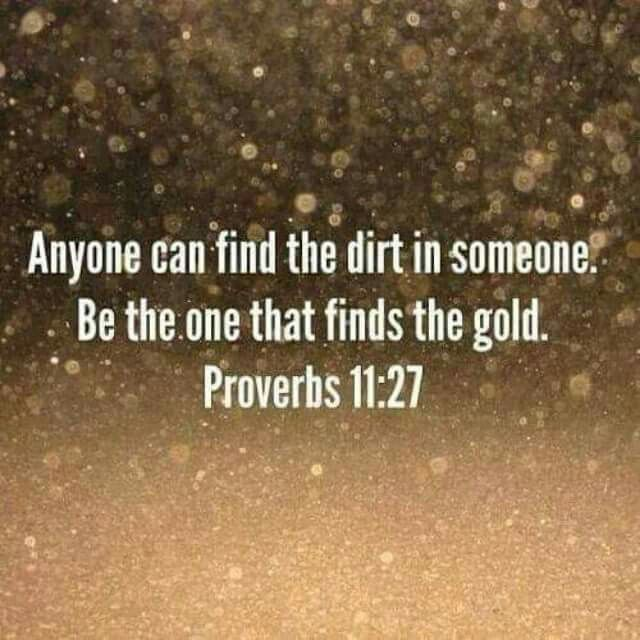 Anyone can find the dirt in someone. Be the one that finds the gold. Proverbs 11:27 Love the gold pray for God to remove the dirt