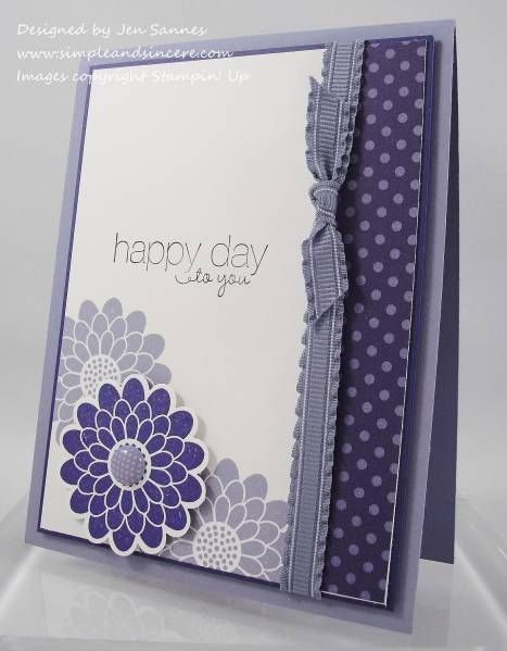 """Purple Mums by stamperjen0 - Cards and Paper Crafts at Splitcoaststampers """"This beautiful handmade card would be perfect to mass produce into a set of all different colors."""""""