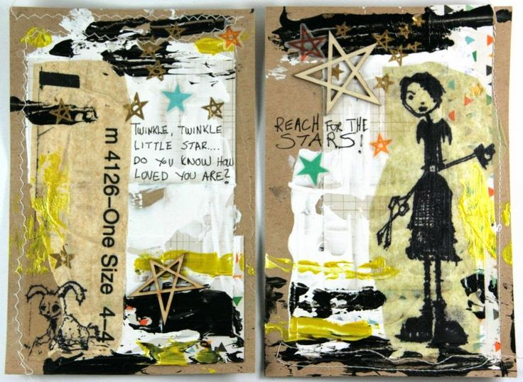 Reach for the Stars mixed media Art Journal by Dt LindaB.