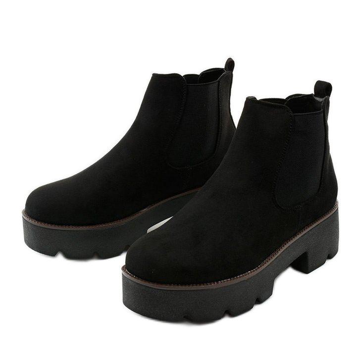Czarne Zamszowe Botki Na Platformie Arnlando Chelsea Boots Shoes Boots