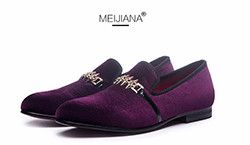 Man shoes luxury 2016 loafer man shoes Purple metal buckle man shoes brand leather